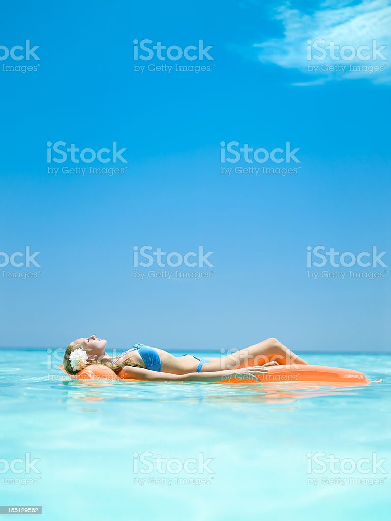 Relaxing in the ocean stock photo