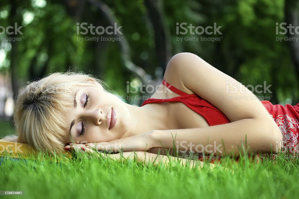 Relaxing in the park stock photo