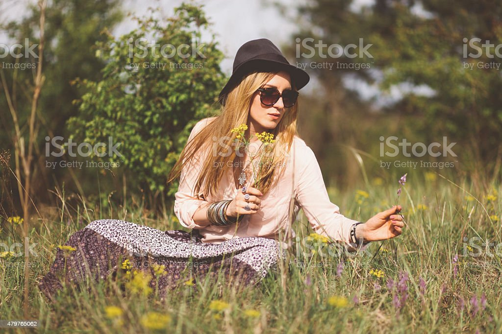relaxing in the vintage toned summer stock photo