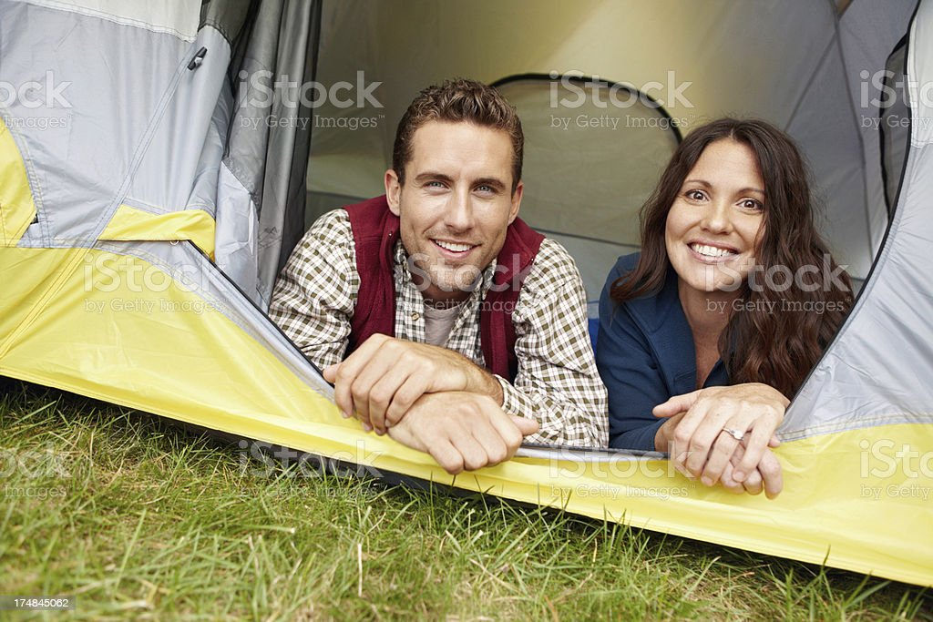 Relaxing in their tent royalty-free stock photo