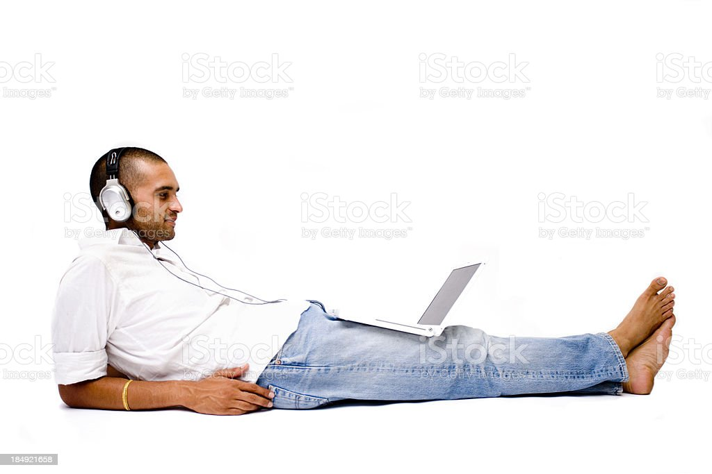 Relaxing Indian Media Man stock photo