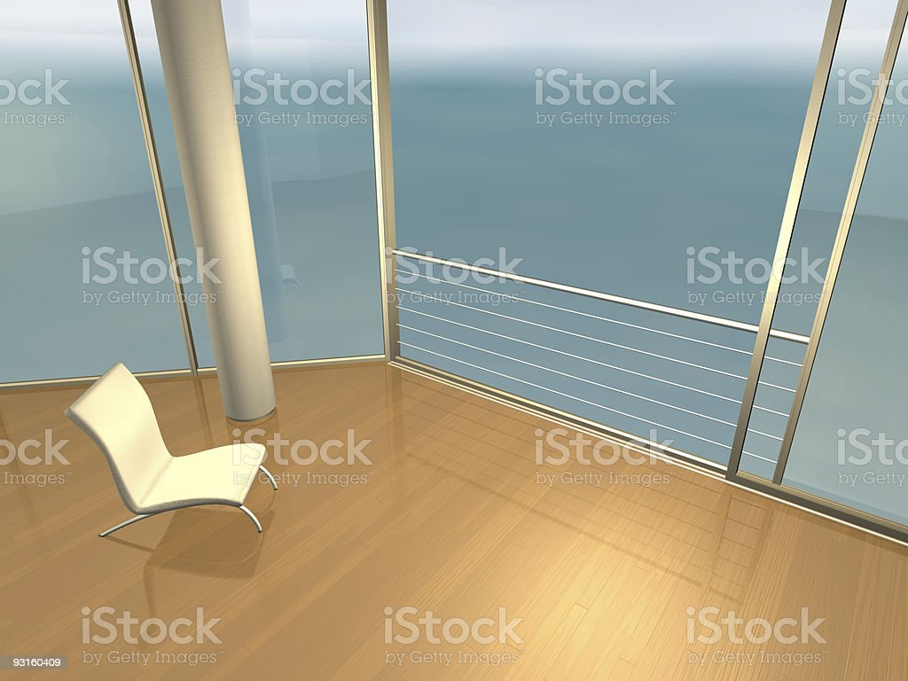 relaxing interior with sea view royalty-free stock photo