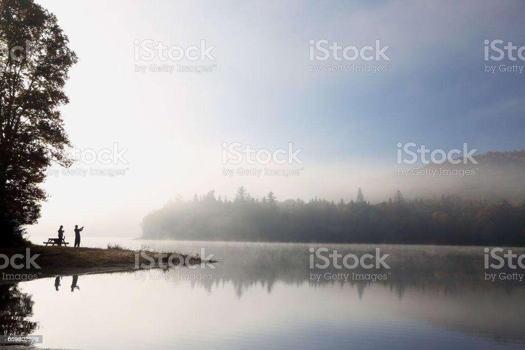 Relaxing morning on lake stock photo