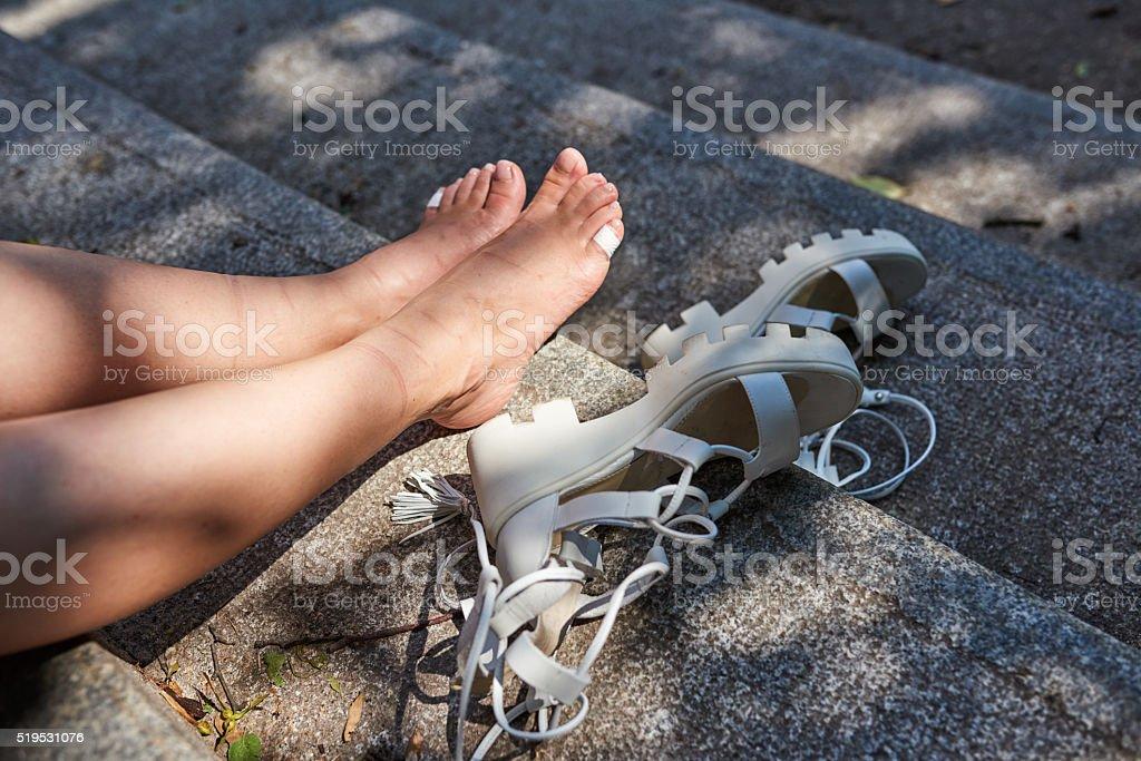 relaxing my feet stock photo