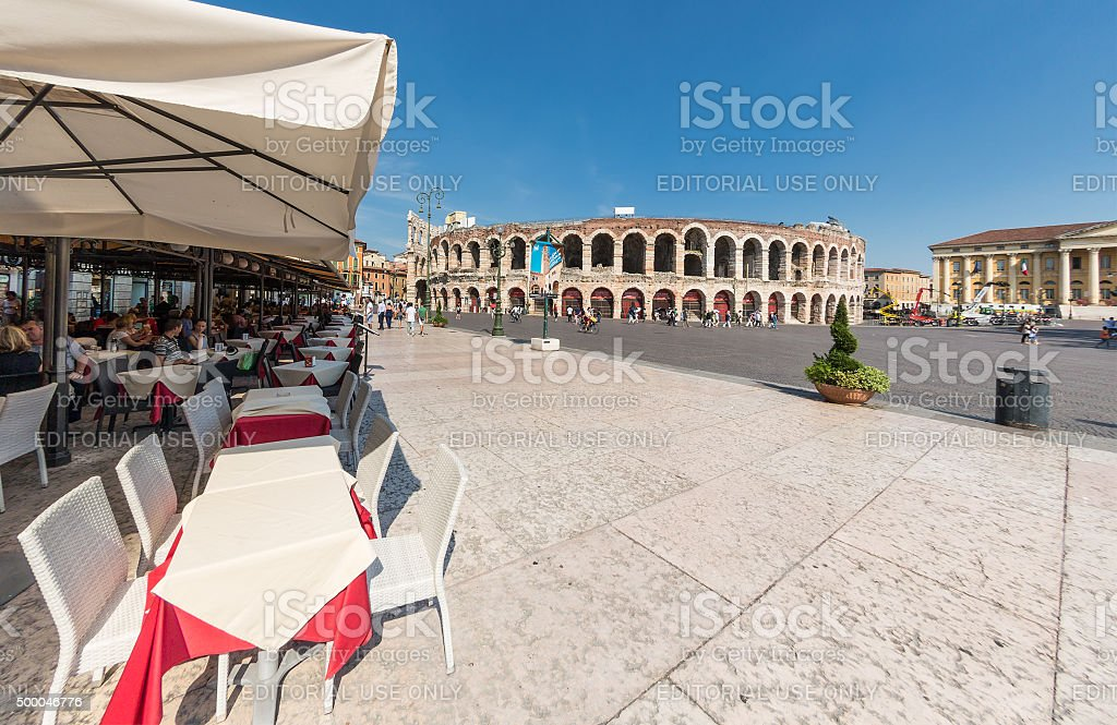 Relaxing next to Arena di Verona, Italy stock photo