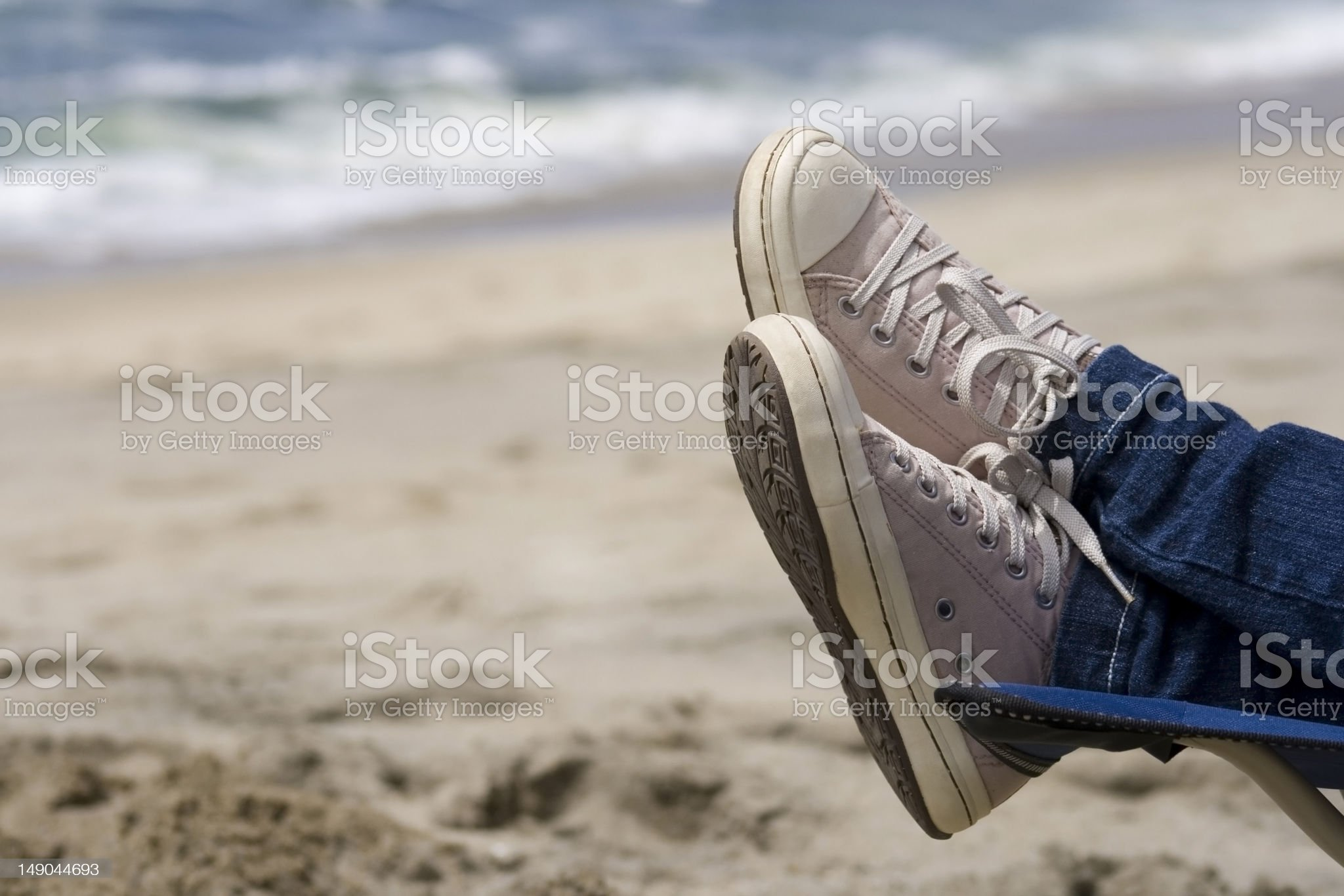 Relaxing on a beach royalty-free stock photo