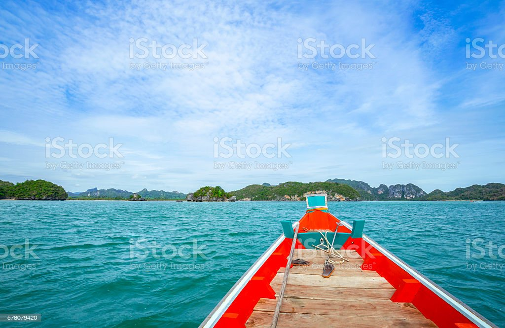relaxing on a boat stock photo