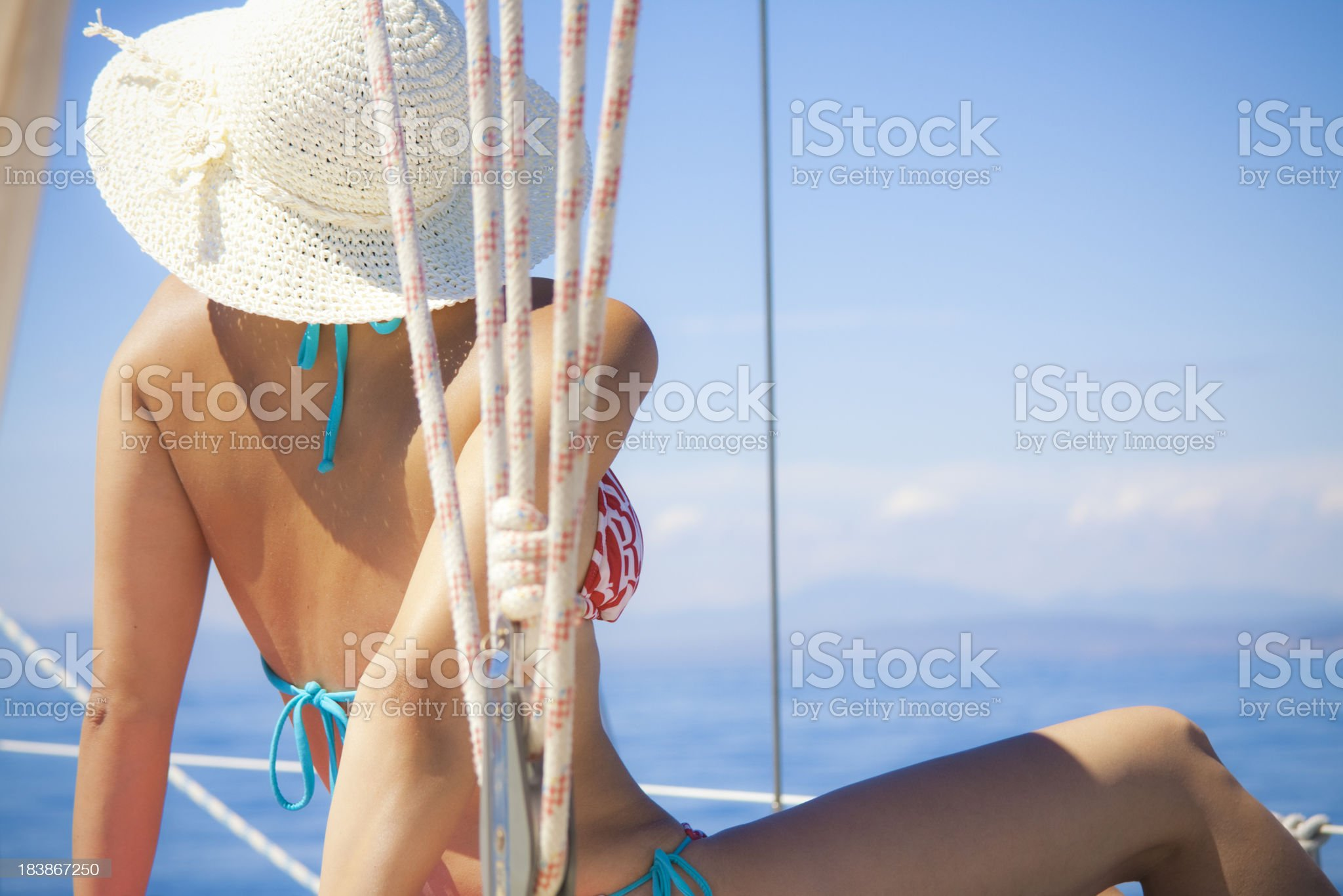 relaxing on a yacht royalty-free stock photo