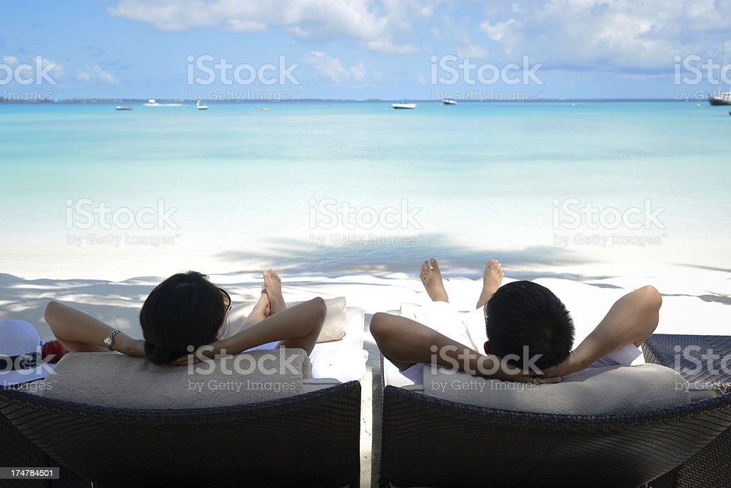 Relaxing On Beach stock photo