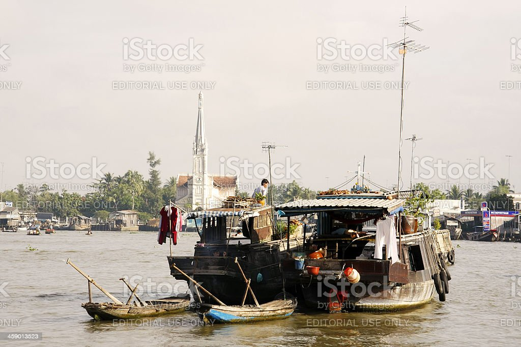 Relaxing on boat in early morning light royalty-free stock photo