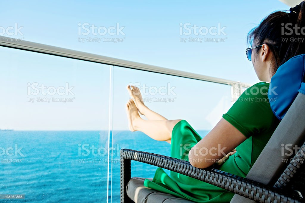 Relaxing on cruise stock photo