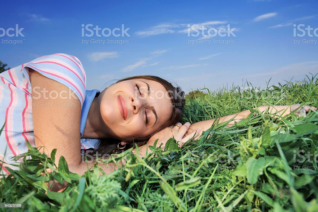 Relaxing on meadow royalty-free stock photo