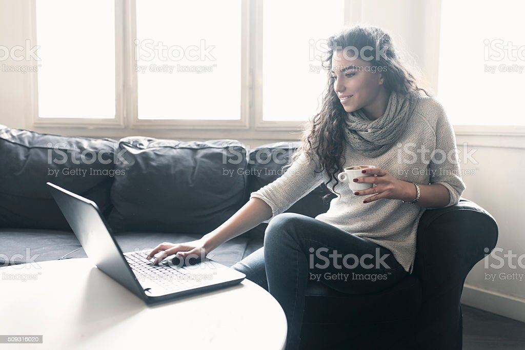 Relaxing On Social Media stock photo