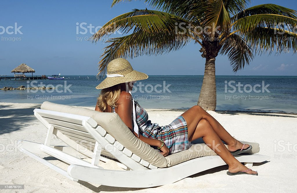 relaxing on the beach stock photo