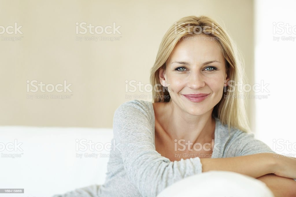 Relaxing on the couch stock photo
