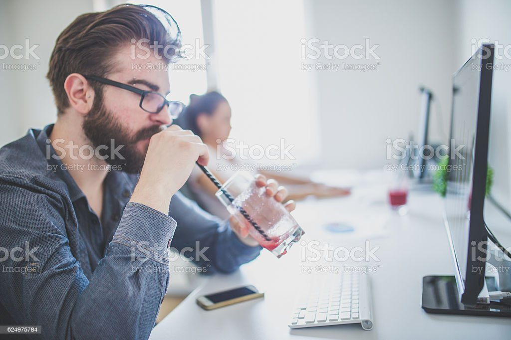 Relaxing on the job stock photo