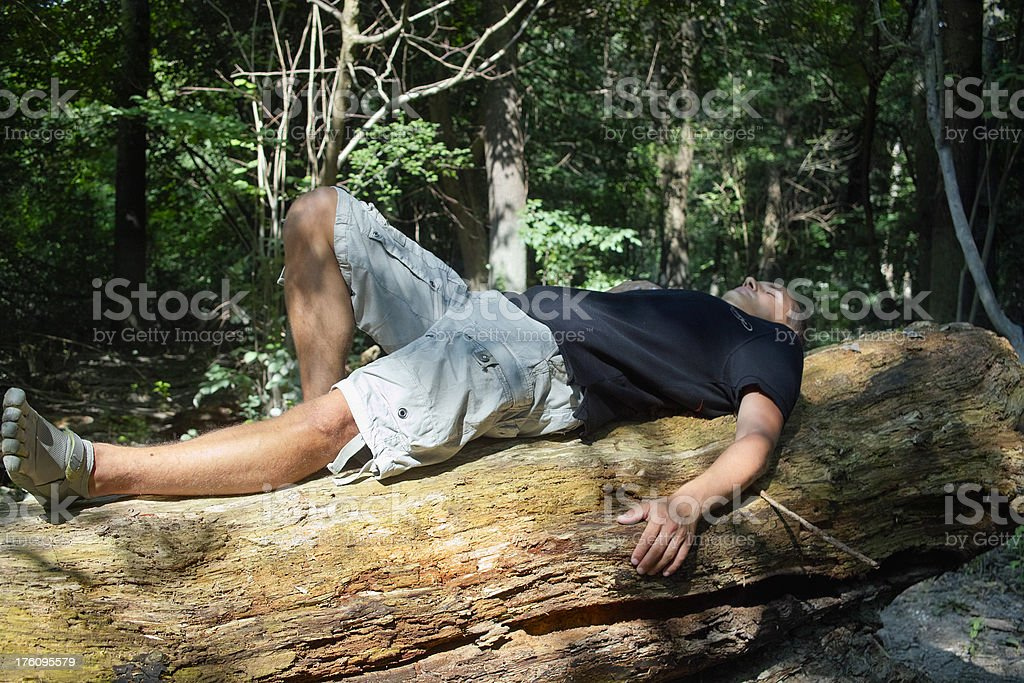 Relaxing on tree trunk royalty-free stock photo