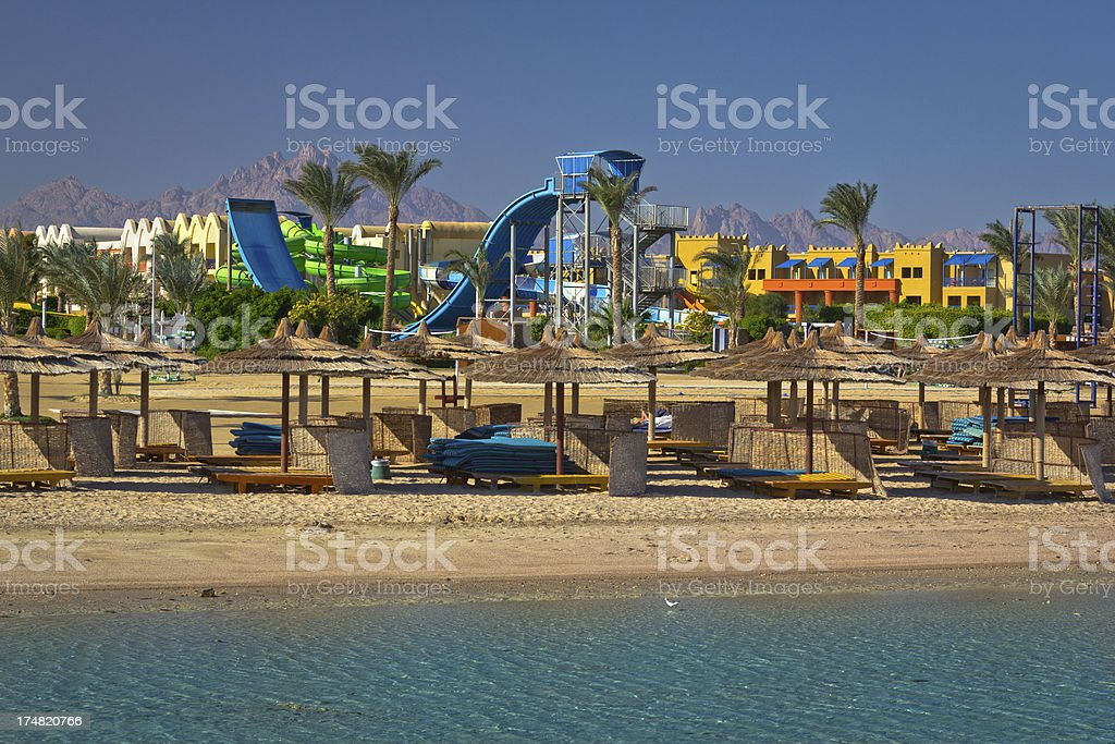 Relaxing on tropical beach, Red sea royalty-free stock photo