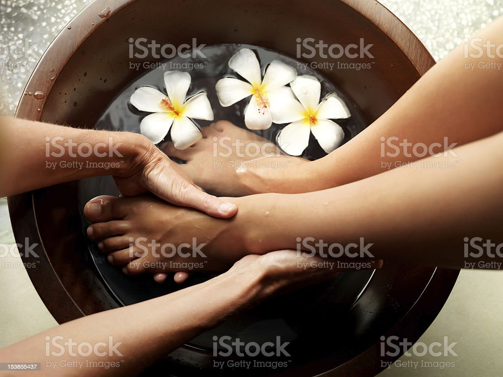 Relaxing pedicure stock photo