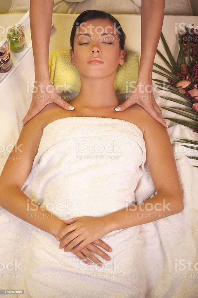 Relaxing shoulder massage. royalty-free stock photo