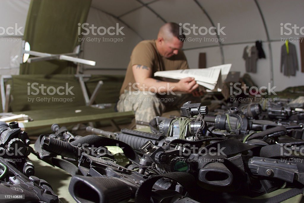 Relaxing soldier stock photo