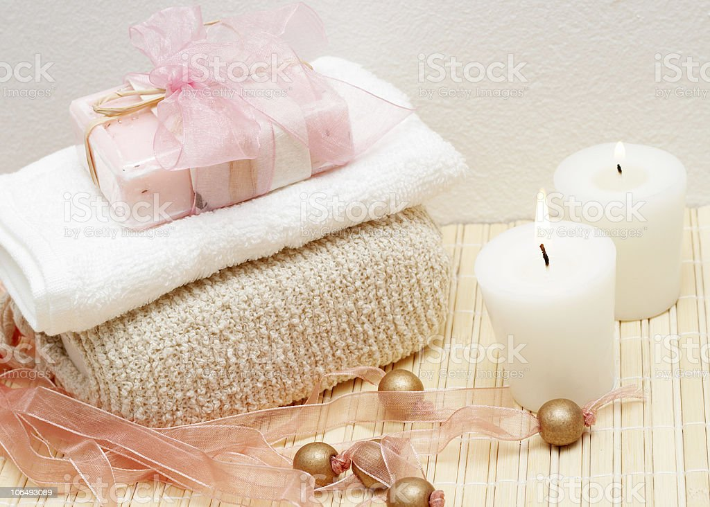 Relaxing spa scene with body products royalty-free stock photo