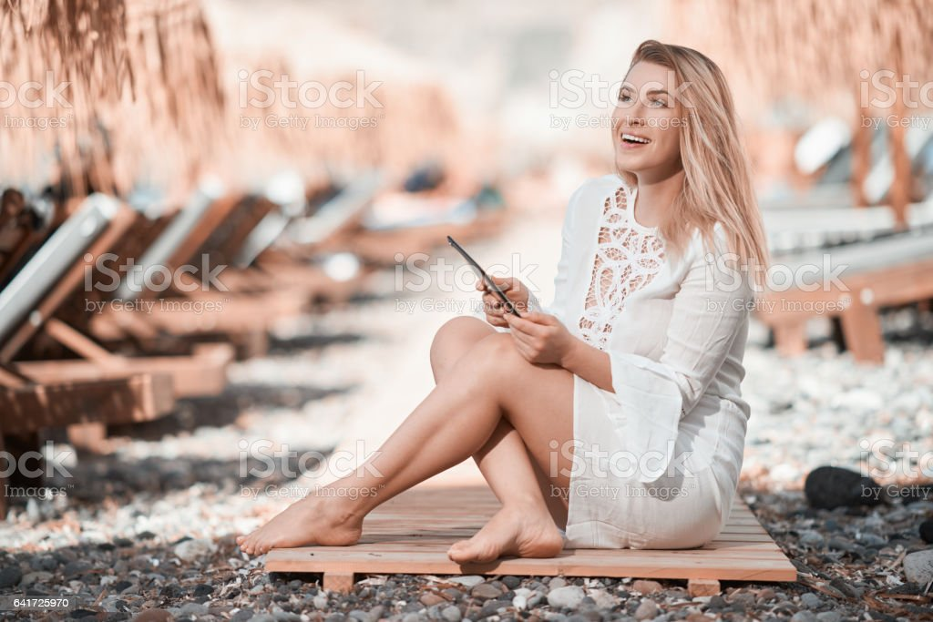 relaxing summer day on the beach stock photo