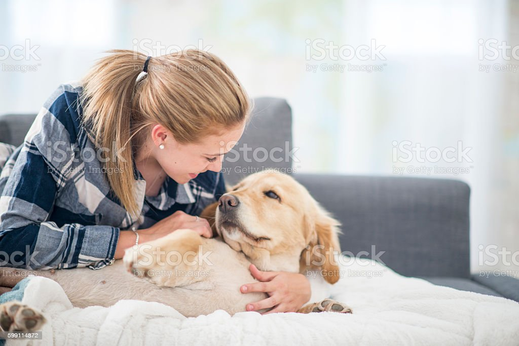 Relaxing Together at Home stock photo