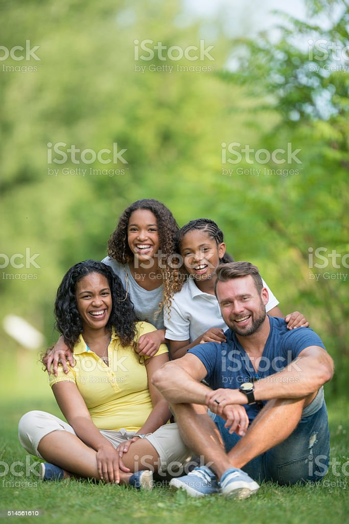 Relaxing Together at the Park stock photo