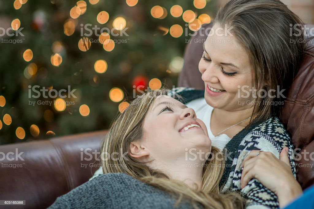 Relaxing Together over the Holidays stock photo