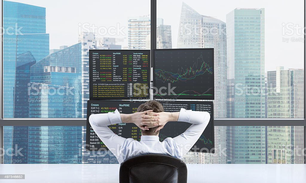 relaxing trader stock photo