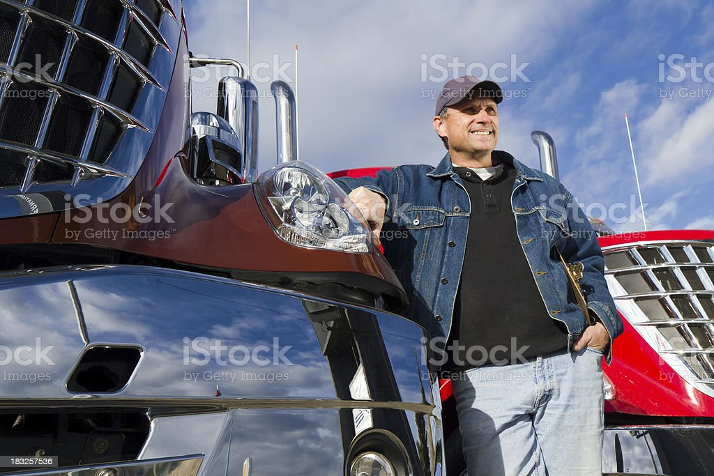 Relaxing Truck Driver stock photo