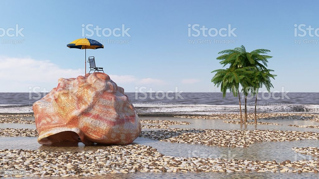 relaxing vacation concept background with seashell,umbrella and beach accessories stock photo
