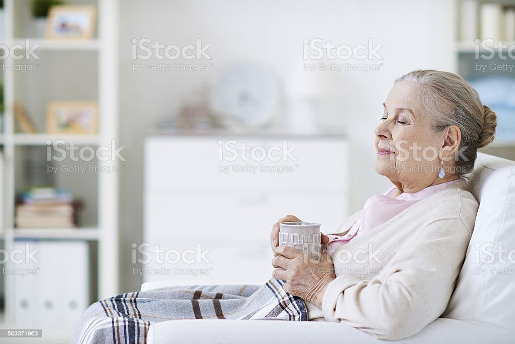 Relaxing with a cup of tea stock photo