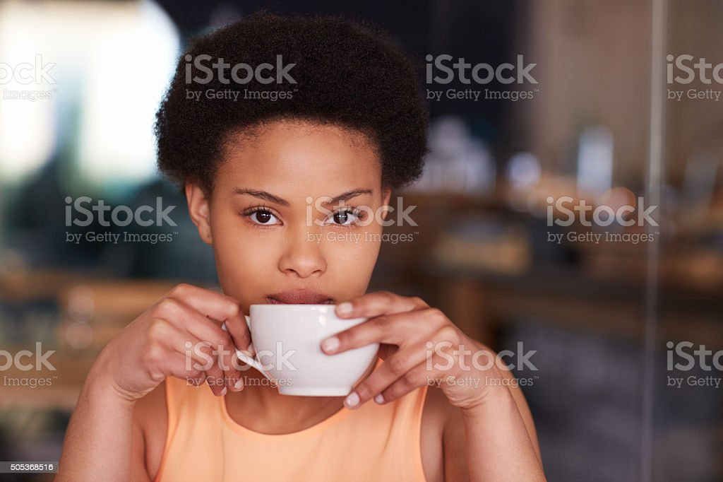 Relaxing with a freshly brewed cup of coffee stock photo