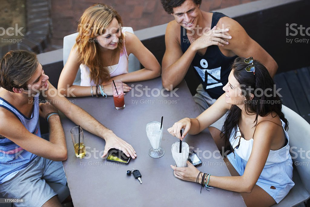 Relaxing with all the gang royalty-free stock photo