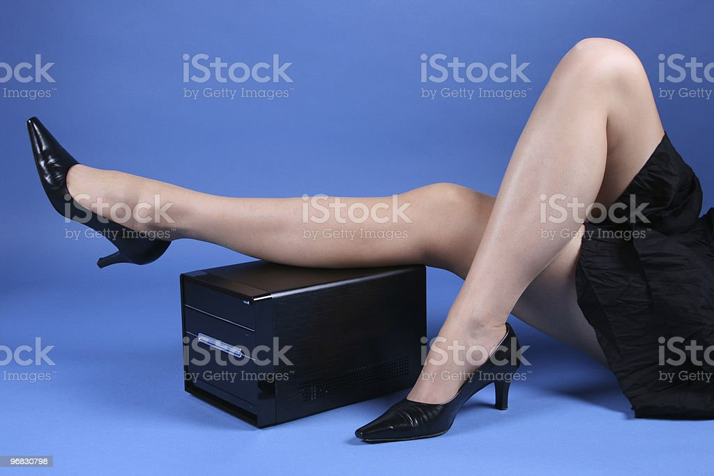 Relaxing with Computers stock photo