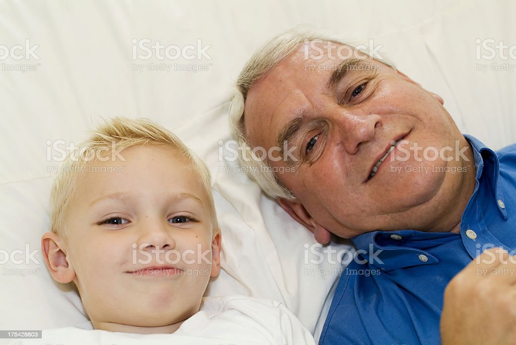 relaxing with grandad royalty-free stock photo