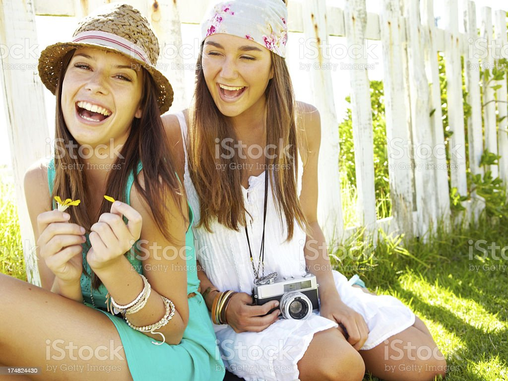 Relaxing with her best friend royalty-free stock photo