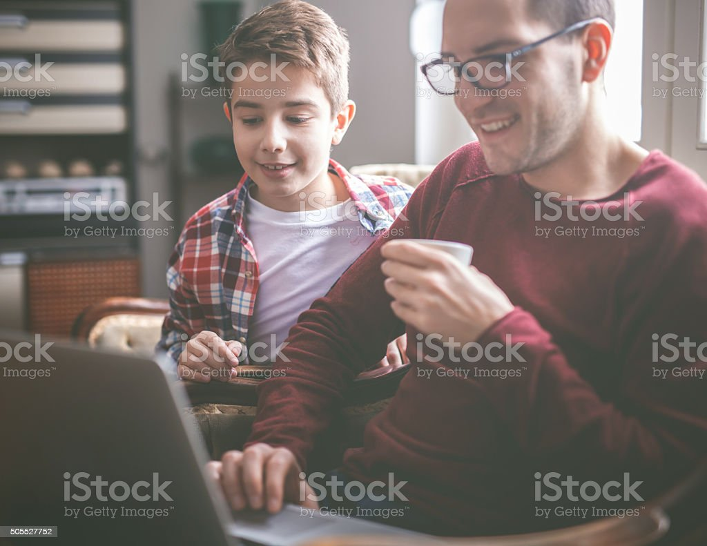 Relaxing with new game stock photo