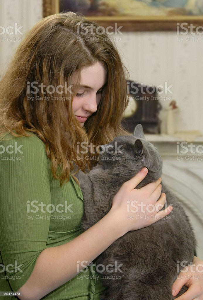 Relaxing with pet royalty-free stock photo