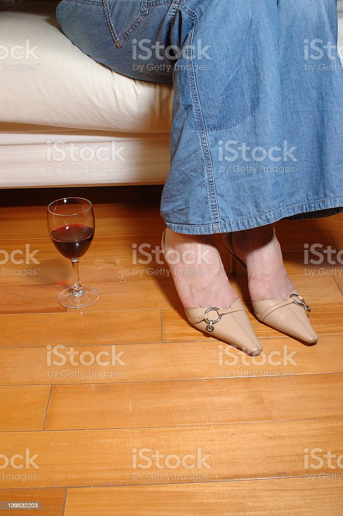 relaxing with wine 2 royalty-free stock photo