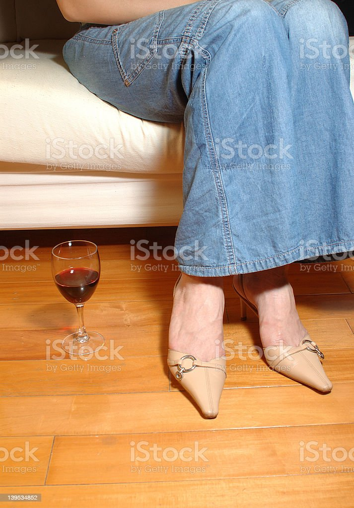 relaxing with wine - a series royalty-free stock photo