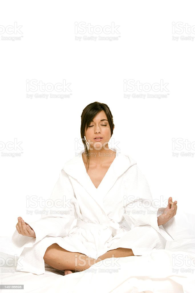 relaxing with yoga isolated on white stock photo