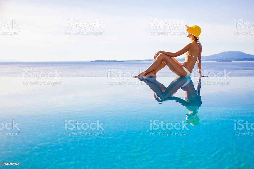 Relaxing woman stock photo