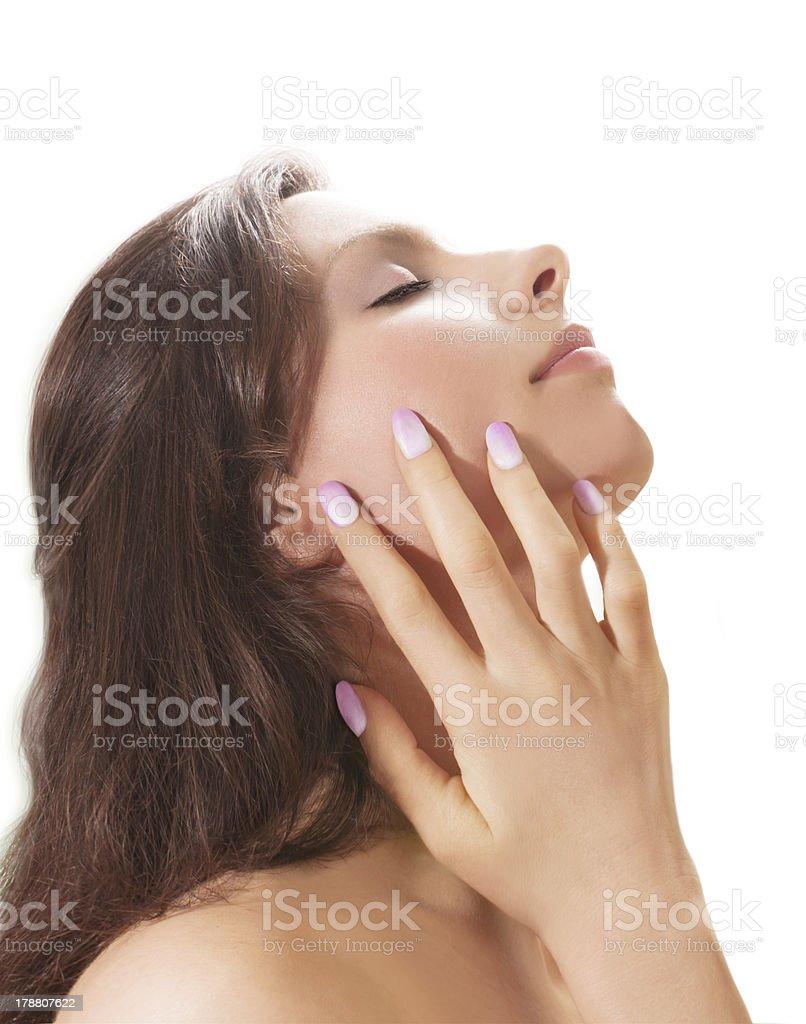 Relaxing woman profile stock photo
