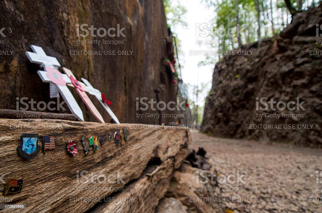 Relics and mementos at Hellfire Pass stock photo
