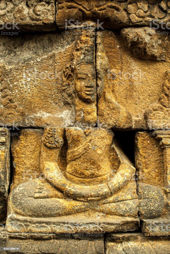 Relief at Borobudur on Java stock photo