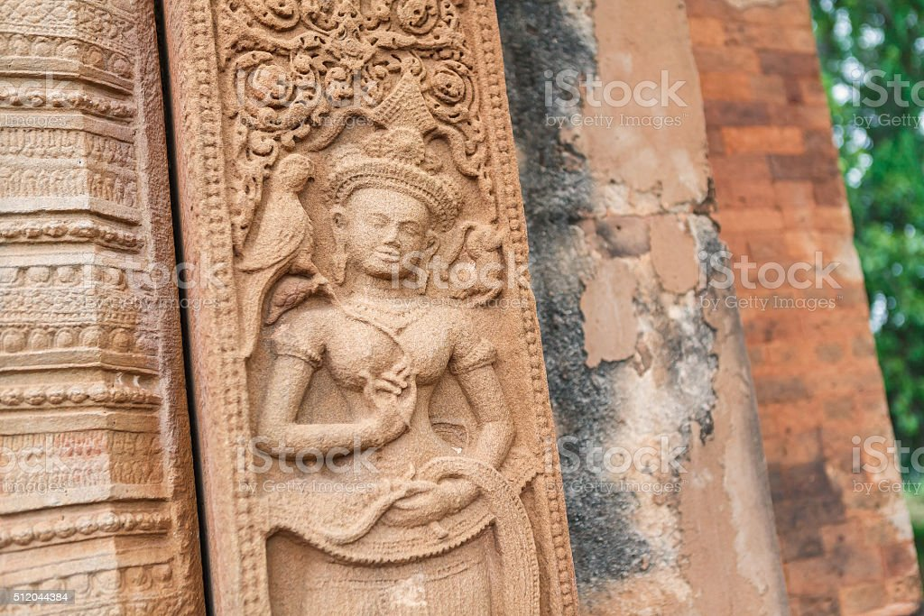 Relief carved stone of ancient Buddhist cosmology, Thailand stock photo