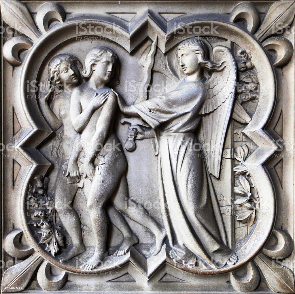 Relief church sainte Chapelle, Paris stock photo
